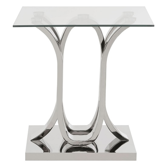 Armanda Glass End Table With Curved Stainless Steel Base   _1