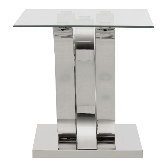 Armanda Glass End Table With Curved Stainless Steel Base   _4