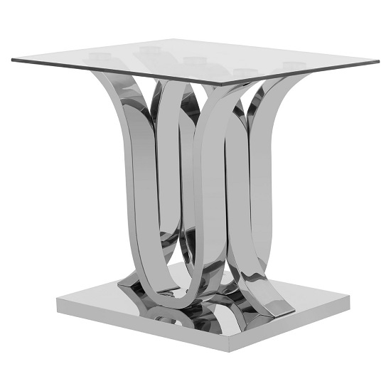 Armanda Glass End Table With Curved Stainless Steel Base   _3