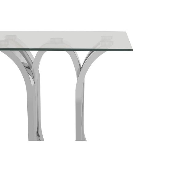 Armanda Glass End Table With Curved Stainless Steel Base   _5