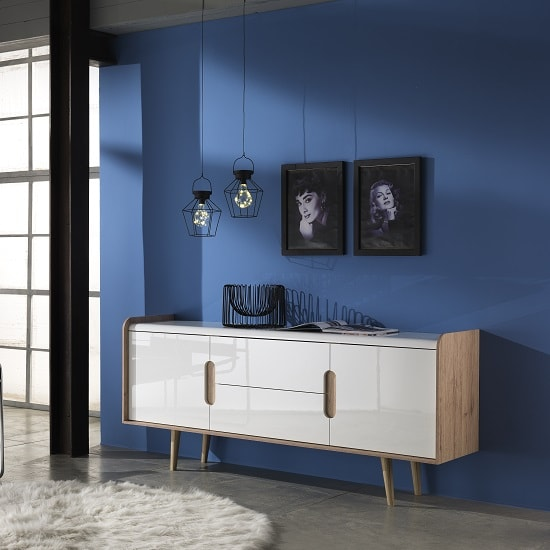 Armano Sideboard In Oak And White High Gloss With 2 Doors_1