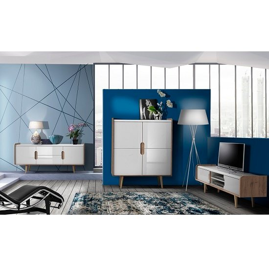 Armano Sideboard In Oak And White High Gloss With 2 Doors_5