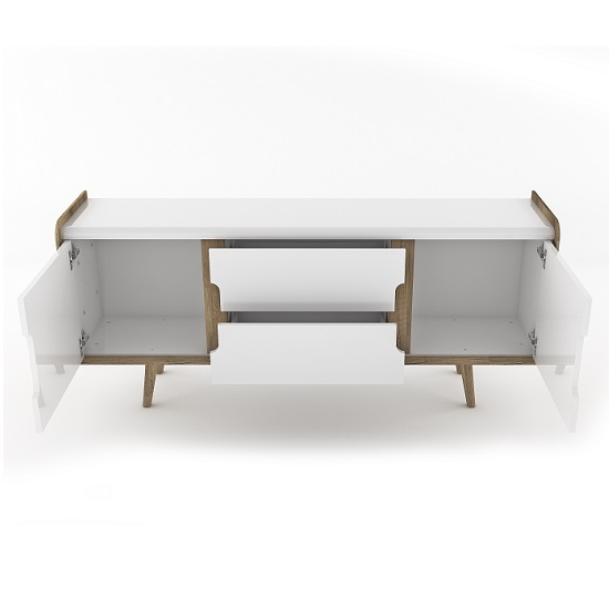Armano Sideboard In Oak And White High Gloss With 2 Doors_2