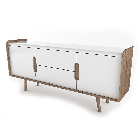 Armano Sideboard In Oak And White High Gloss With 2 Doors_3