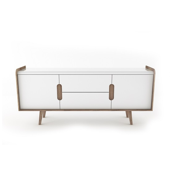 Armano Sideboard In Oak And White High Gloss With 2 Doors_4