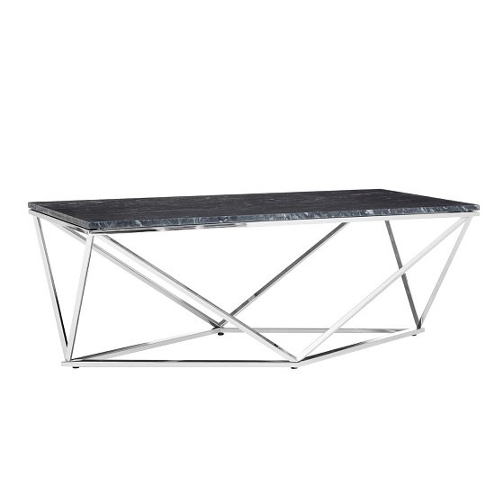 Armenia Faux Marble Coffee Table In Black And Chrome
