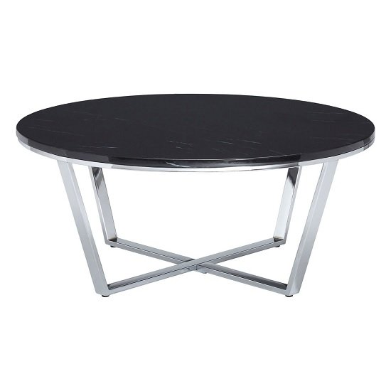 Armenia Faux Marble Coffee Table Round In Black And Chrome Legs