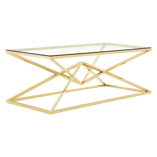 Armenia Glass Coffee Table With Champagne Gold Steel Frame