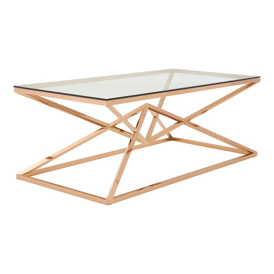 Armenia Glass Coffee Table In Clear With Rose Gold Steel Frame