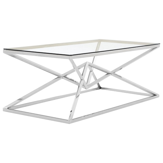 Armenia Glass Coffee Table In Clear With Stainless Steel Frame