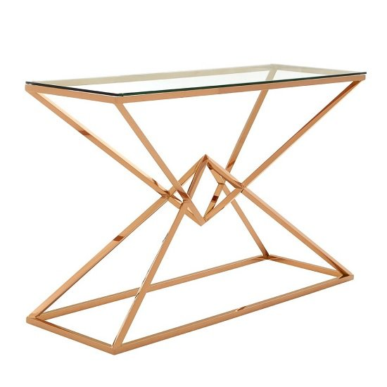 Armenia Glass Console Table In Clear With Rose Gold Steel Frame_1
