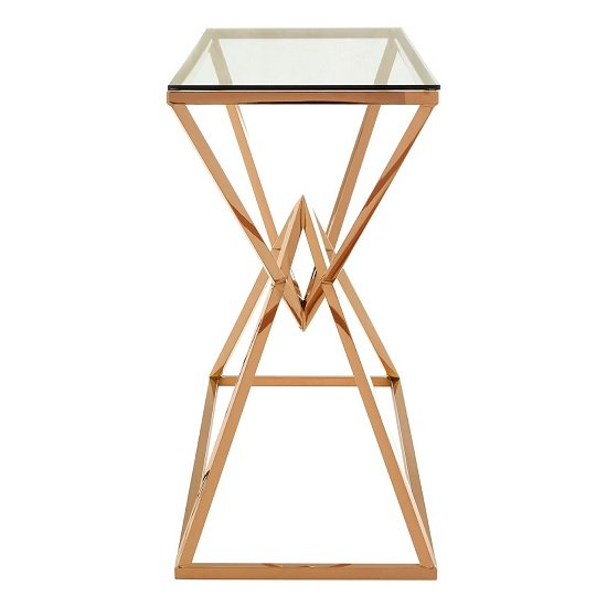 Armenia Glass Console Table In Clear With Rose Gold Steel Frame_2