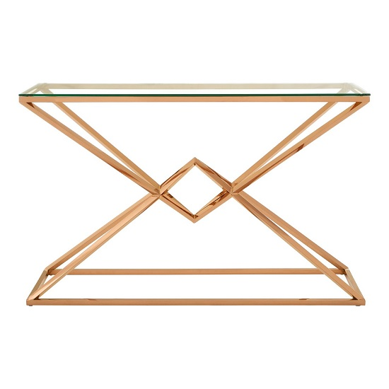 Armenia Glass Console Table In Clear With Rose Gold Steel Frame_3