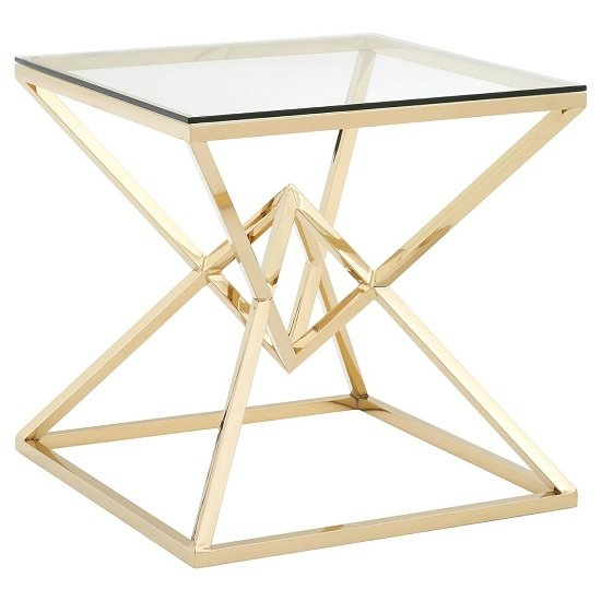 Armenia Glass End Table With Champagne Gold Steel Frame