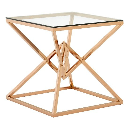 Armenia Glass End Table In Clear With Rose Gold Steel Frame