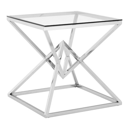 Armenia Glass End Table In Clear With Stainless Steel Frame