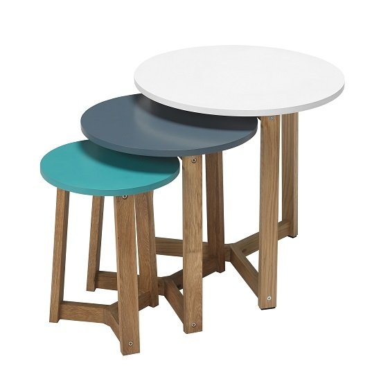 Armenia Wooden Nest of 3 Tables Round In Multicolor