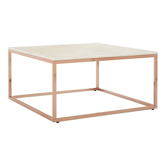 Armenia Marble Coffee Table Square In White And Rose Gold Frame