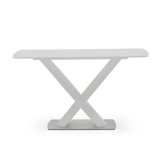 Armida Glass Top Console Table In White With High Pedestal Base