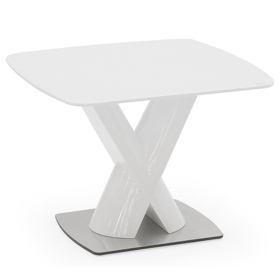 Armida Glass Top Lamp Table In White With High Pedestal Base