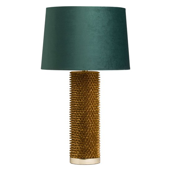 Arminian Acantho Table Lamp In Antique Gold With Green Shade