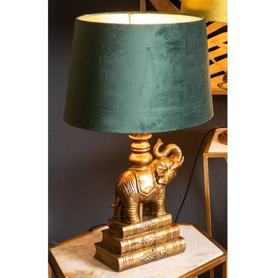 Arminian Elephant Table Lamp In Antique Gold With Green Shade