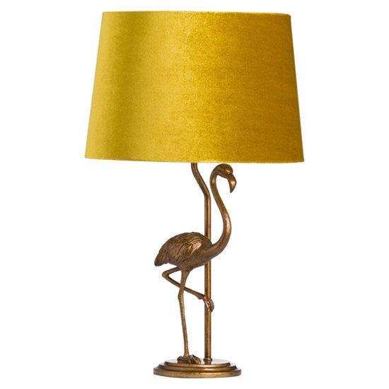Arminian Flamingo Table Lamp In Antique Gold With Mustard Shade