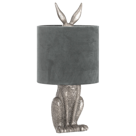 Arminian Hare Table Lamp In Antique Silver With Grey Shade