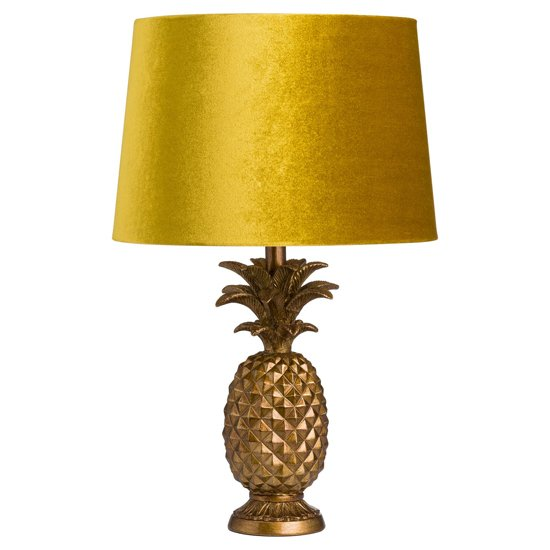 Arminian Pineapple Table Lamp In Gold With Mustard Shade