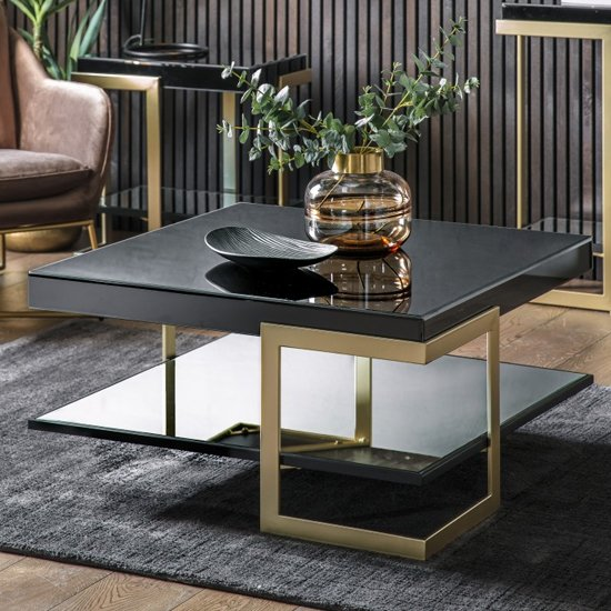 Arodena Gloss Black Coffee Table With Golden Frame