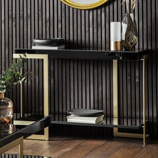 Arodena Gloss Black Console Table With Golden Frame_1