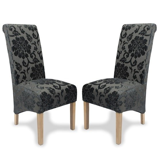 Arora Dining Chair In Charcoal Fabric With Oak Legs In A Pair