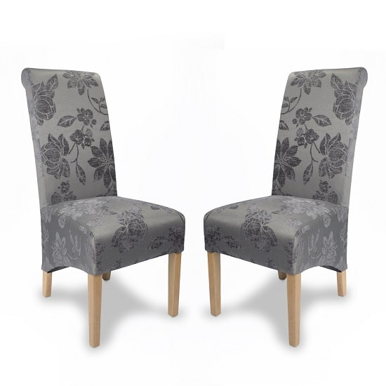 Beau Arora Floral Fabric Dining Chairs In Antique Grey In A Pair_1
