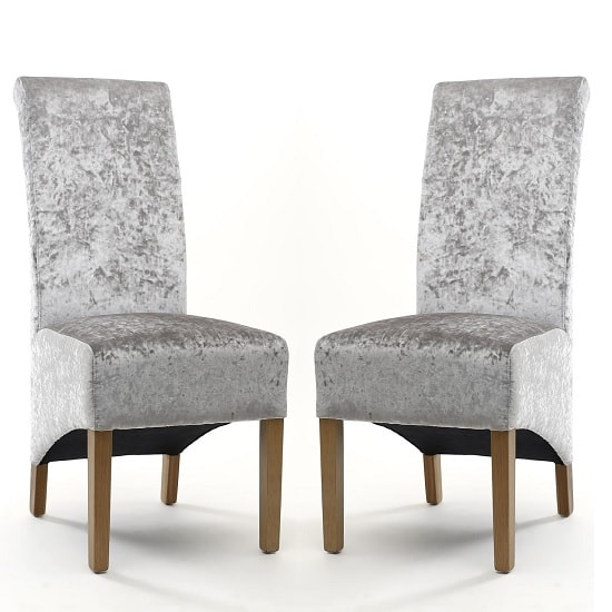 Arora Fabric Dining Chair In Silver Velvet In A Pair