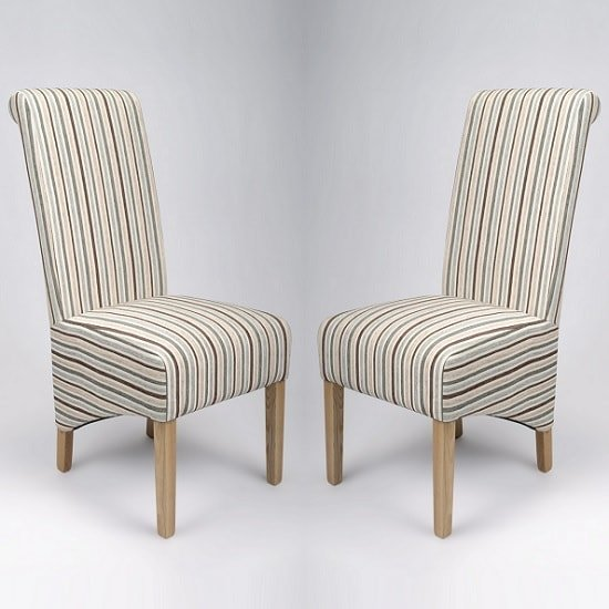 Arora Stripe Fabric Dining Chairs In Duck Egg Blue A Pair 1