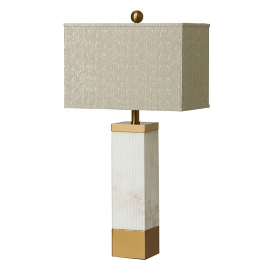Arriba Table Lamp In Taupe With Ribbed Details
