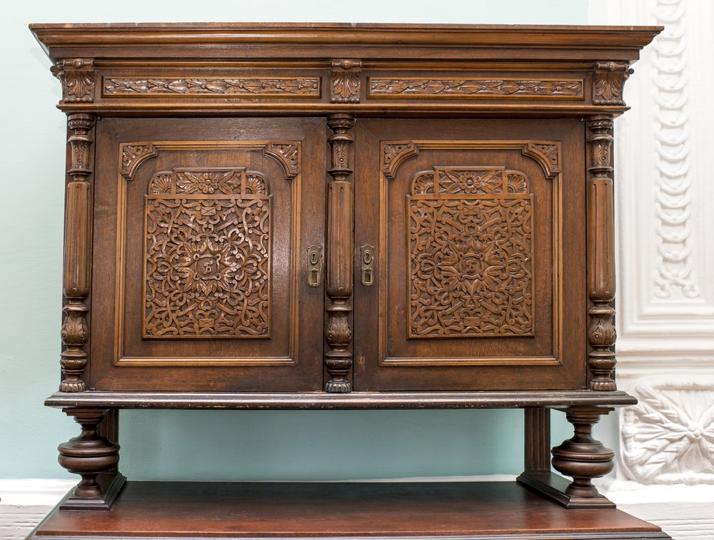 How to buy cheap sideboard with elaborate carvings in cherry brown finish