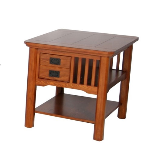 Artisan Wooden End Table In Oak With Drawers