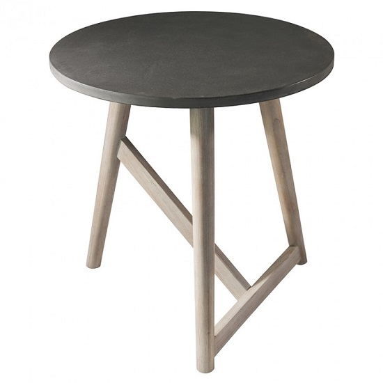 Artisan Side Table Round In Concrete With Mindy Ash Legs