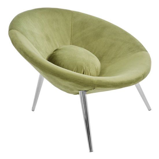 Artos Velvet Lounge Chair In Green With Chrome Legs