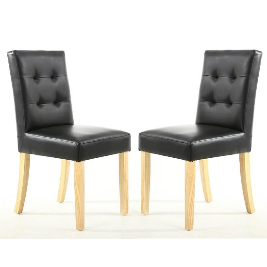 Artois Dining Chair In Black Matt Bonded Leather And Natural Leg