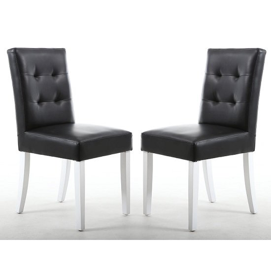 Artois Dining Chair In Black Matt Bonded Leather With White Legs