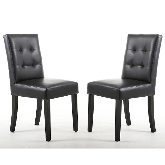Artois Dining Chair In Black Matt Bonded Leather With Black Legs