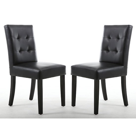 Artois Dining Chair In Black Matt Bonded Leather With Brown Legs