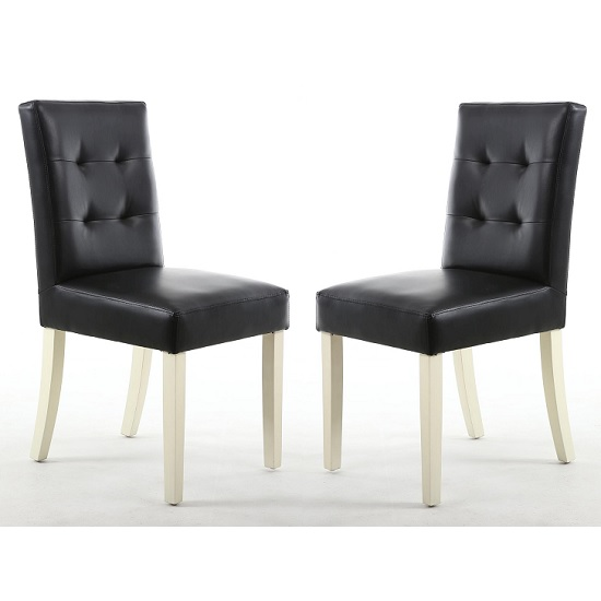 Artois Dining Chair In Black Matt Bonded Leather With Cream Legs