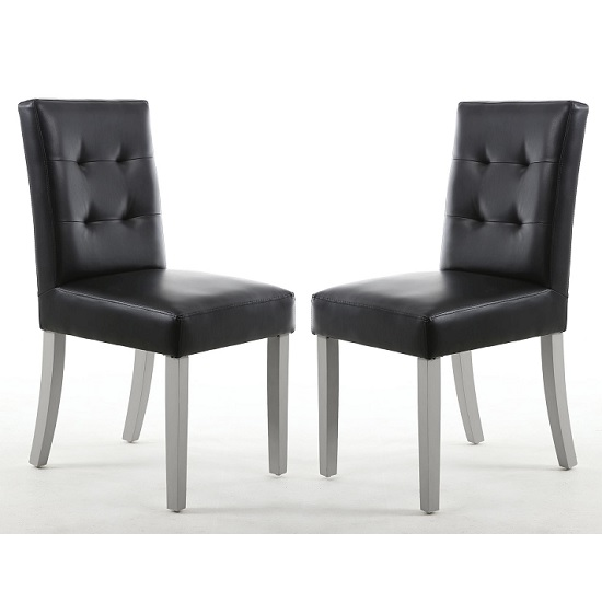Artois Dining Chair In Black Matt Bonded Leather With Grey Legs