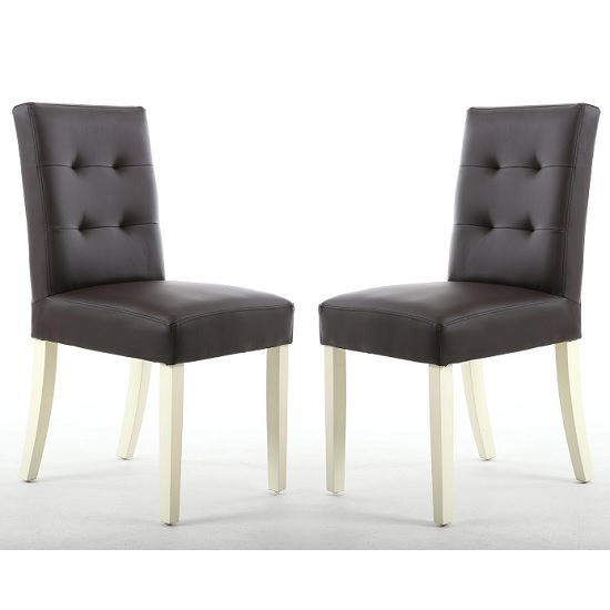 Artois Dining Chair In Brown Matt Bonded Leather And Cream Legs