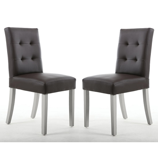 Artois Dining Chair In Brown Matt Bonded Leather With Grey Legs