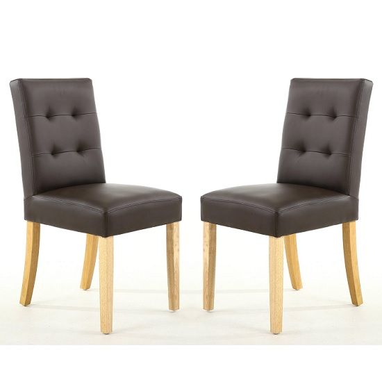 Artois Dining Chair In Brown Matt Bonded Leather And Natural Leg