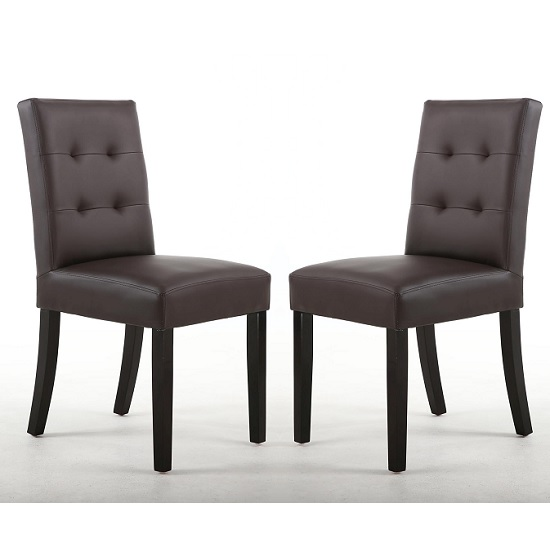 Artois Dining Chairs In Brown Matt Bonded Leather